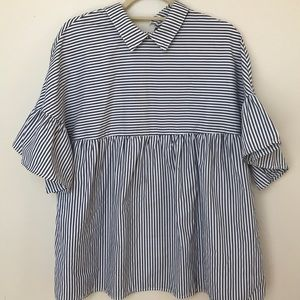 Striped peter pan collared blouse